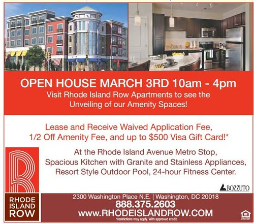 Ad from the Express, Rhode Island Row apartments at Rhode Island Metro Station, Open House
