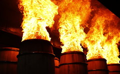 barrels in fire