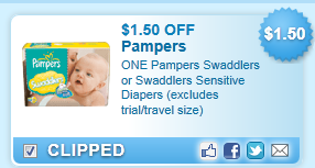 Pampers Swaddlers Or Swaddlers Sensitive Diapers (excludes Trial/travel Size)  Coupon