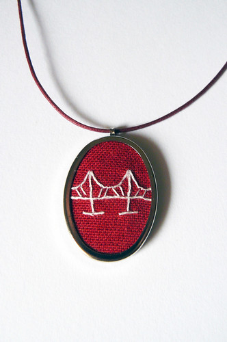 red bridge pendant hand embroidered