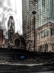 Blue Umbrella in the Rain @ John Hancock Center Plaza, Chicago by doug.siefken