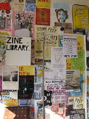 'Zine library' box on a wall