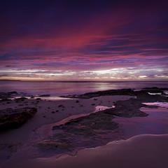 [フリー画像素材] 自然風景, 朝焼け・夕焼け, ビーチ・海岸, 紫色・パープル, 風景 - オーストラリア ID:201203110400