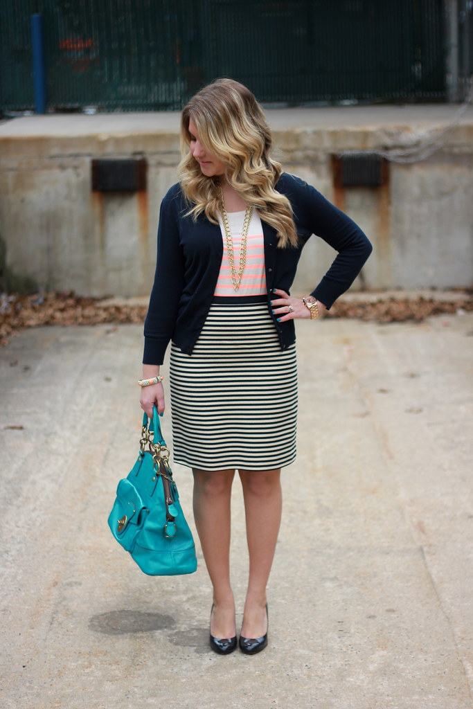 neon and navy stripes work outfit