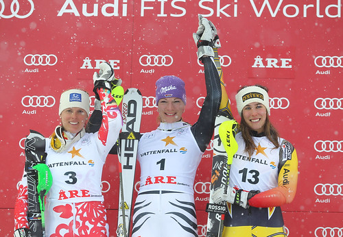 Veronika Zuzulova (2nd), Maria Hoefl-Riesch (1st) and Marie-Michèle Gagnon (3rd) in Are, Sweden.