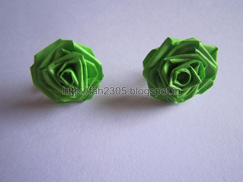 Handmade Jewelry - Paper Rose Earrings (Light Green) (1) by fah2305