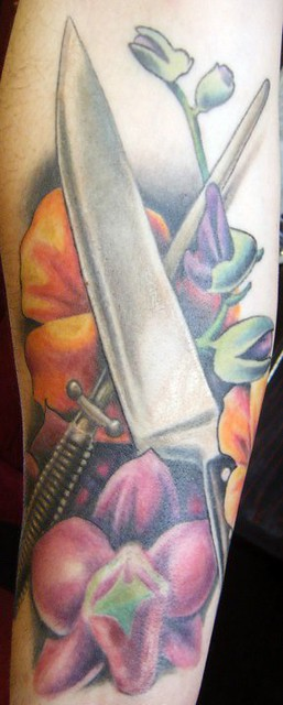 chef 39 s knife and flowers tattoo flickr photo sharing. Black Bedroom Furniture Sets. Home Design Ideas