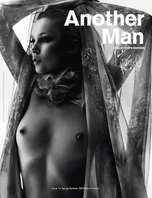 Editorial - AnOther Man, S/S 12, Collector's Edition - Kate Moss by Nick Knight and styling by Alister Mackie
