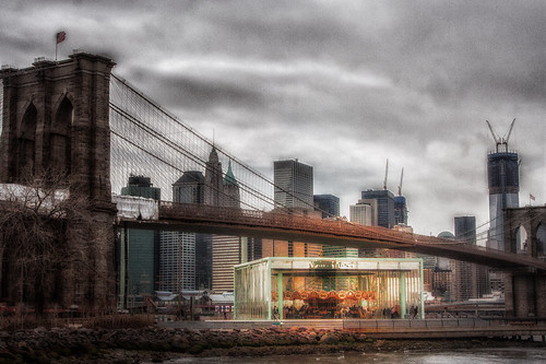 Jane's Carousel, the Brooklyn Bridge and Lower Manhattan