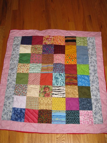 Random Charm quilt finished
