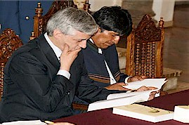 Bolivia's President Evo Morales and Vice President Alvaro Garcia inspects new book published by the leader of the Cuban Revolution Fidel Castro. The book has been recently published. by Pan-African News Wire File Photos
