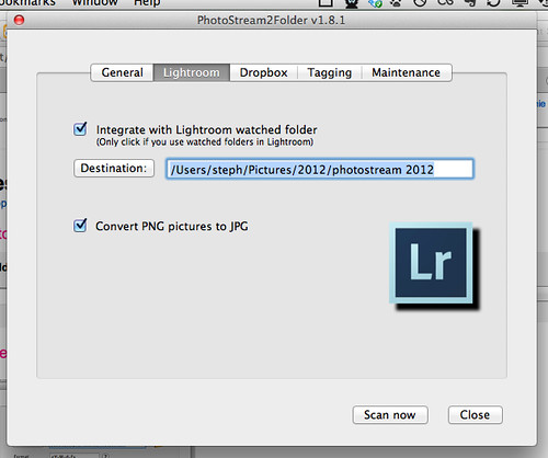 PhotoStream2Folder Lightroom settings