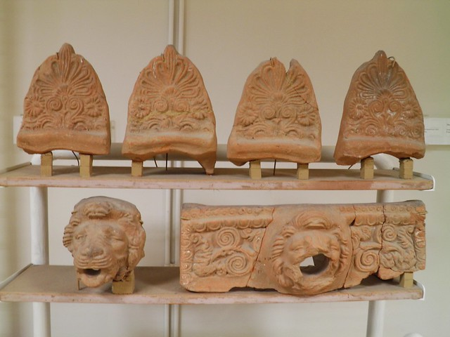 Roof tiles and antefixes, building materials. Archaeological Museum, Dion