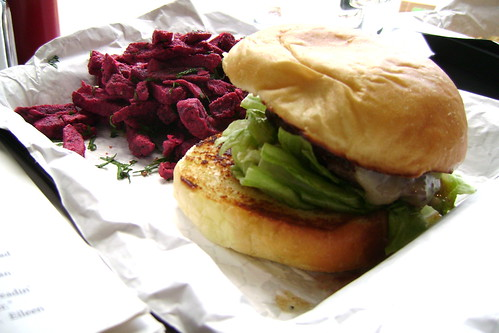 Cheeseburger and beet fries