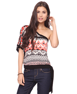 Printed Asymmetric Top with Belted Hem