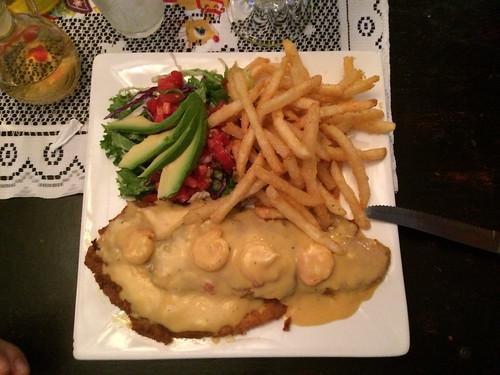 Santa Elena: poissons frits, sauce crevette