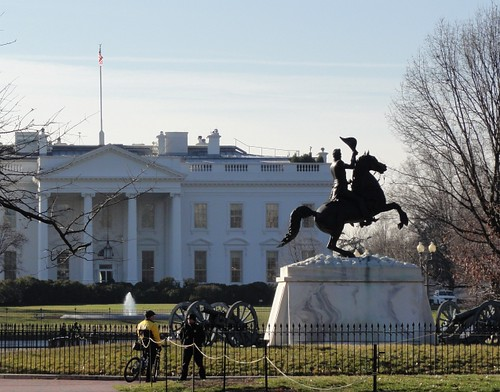 The General Andrew Jackson's statue in Lafayette Park and White House