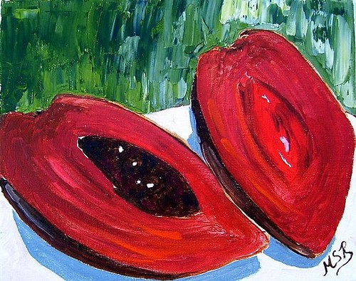 Mamey-1-Tropical-Fruit-Impasto-Painting