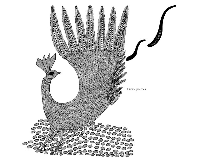 black and white folk art illustration of stylised peacock