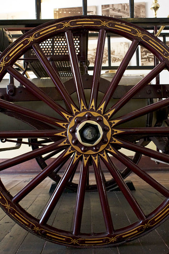 decorative antique fire engine wheel, fire house number 1, los angeles