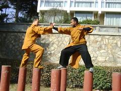 Tue, 15/03/2011 - 07:27 - SHAOLIN INDIA SHIFU KANISHKA AND SHAOLIN TEMPLE SHIFU SHI YANFANG TRAINING IN LIAN SHOU DUANDA ON MEHIUA POLES IN SHAOLIN TEMPLE WUSHU GUAN Shaolin Kung Fu India