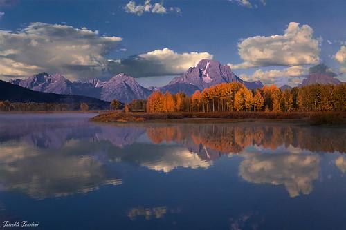 sky cloud mountain lake reflection nature landscape fallcolors wyoming teton aspen grandteton aspentree oxbobend fereshtefaustini