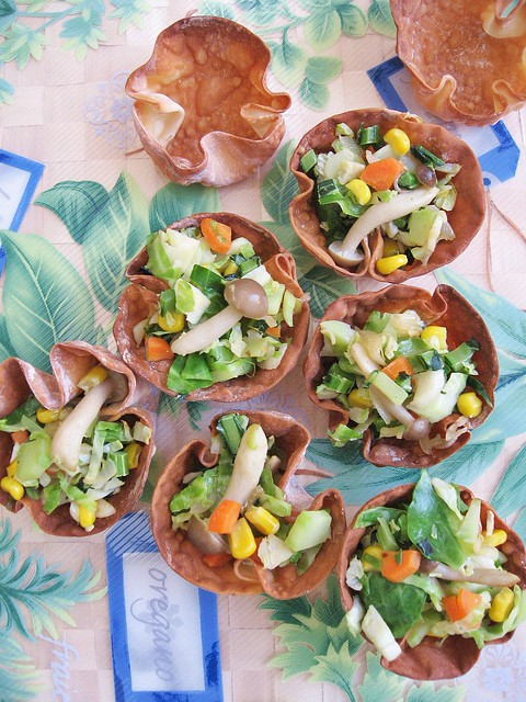 Kale, Brussel Sprouts, Mushrooms Wonton Cups