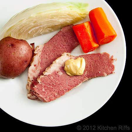 Corned Beef, Cabbage, Carrots, and Potato on Plate, Overhead View