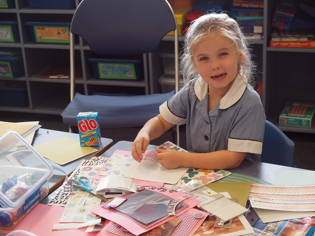 keira learns scrapbooking and loves it!