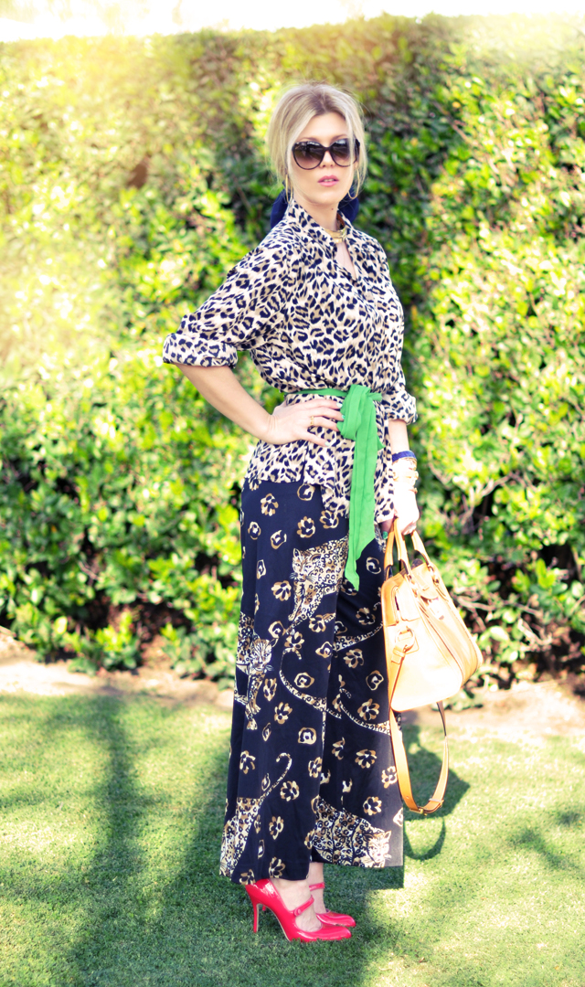 pajama outfit - leopard print on leopard print-pink shoes-
