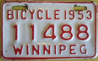 WINNIPEG MANITOBA 1953 ---BICYCLE LICENSE