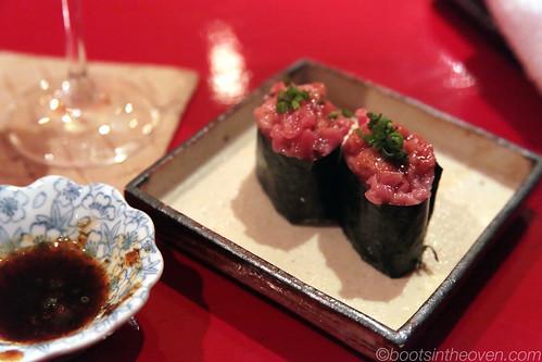 Chopped toro nigiri