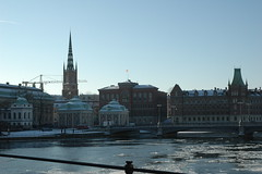 View from the pedestrian bridge Riksbron from where one can observe Riddarholmen Church