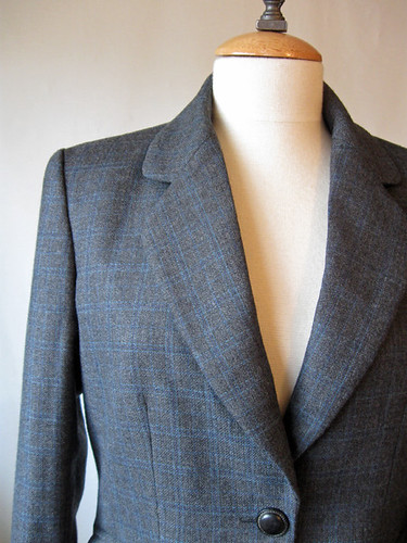 Grey jacket lapel closeup