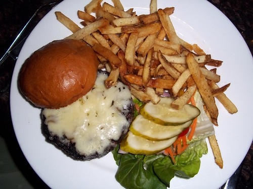 Charred burger and fries