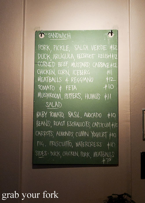 blackboard lunch menu at freda's chippendale