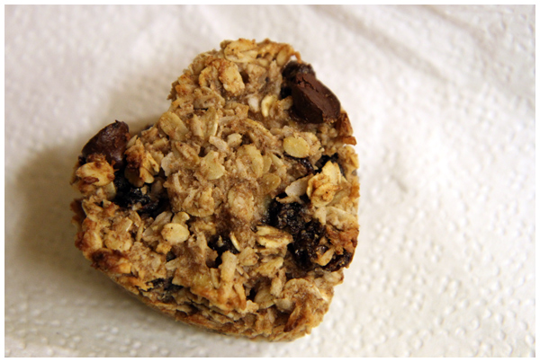Heart Shaped Oatmeal Raisin Cookies with a Chocolate Suprise