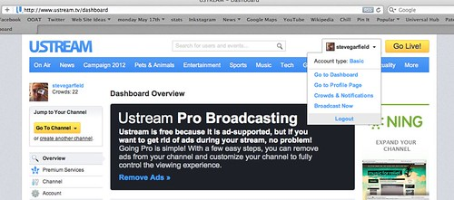 Ustream: Go to Dashboard > Channel by stevegarfield