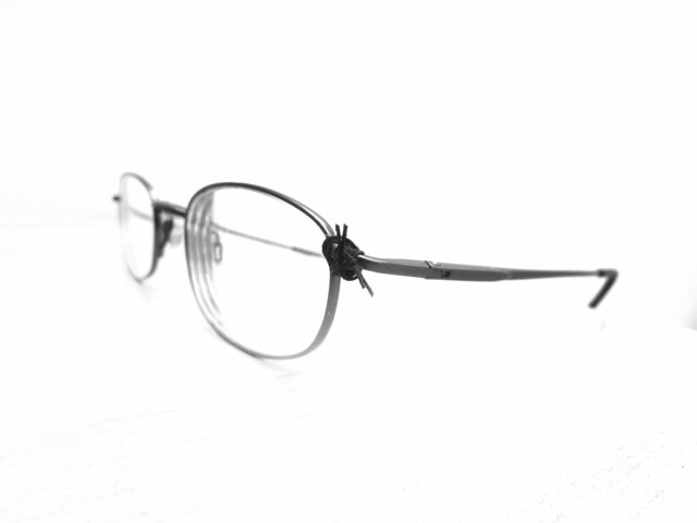 glasses missing screw fixed with string and superglue  (2012)