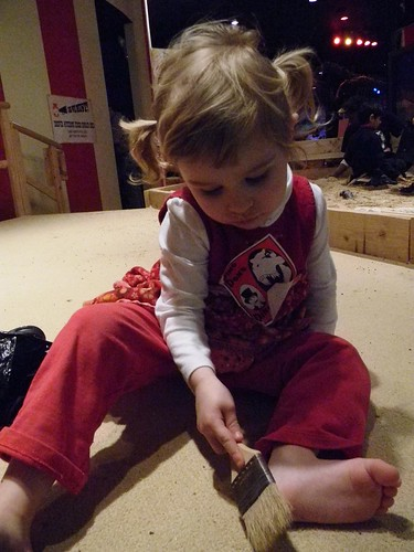 brushing off her feet
