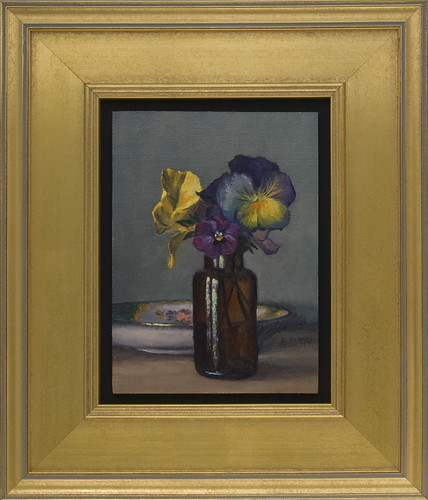Pansies with Saucer - framed
