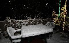 Di notte, il terrazzo del mio bunker mentre fuori nevica forte