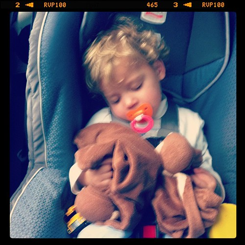 Sweet boy sleeping in the car