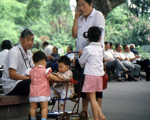 Grandparents looking after children in Shanghai's Huangpu Park