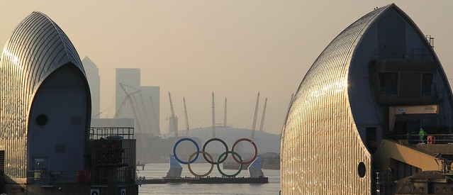 Olympic Rings - through the Thames Barrier, London