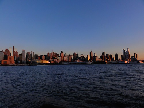 View of Manhattan at sunset from Hudson River