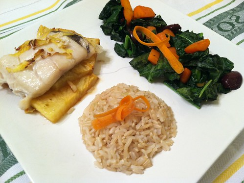 Roasted Black Cod (sable fish) with Kale carrot side and brown rice