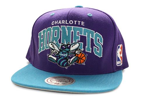NBA Mitchell & Ness - Charlotte Hornets Snapback Hats Cap 2 Tone Arch Logo - Purple/Blue