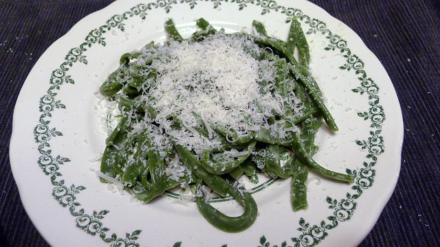 Green tagliatelle with butter and Parmiggiano