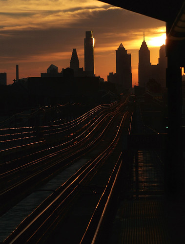 city morning light urban usa color philadelphia skyline america sunrise subway cityscape blueline unitedstates westphiladelphia pennsylvania tracks theel el pa commute philly elevated westphilly marketfrankfordline rapidtransit cityofbrotherlylove marketfrankfordel